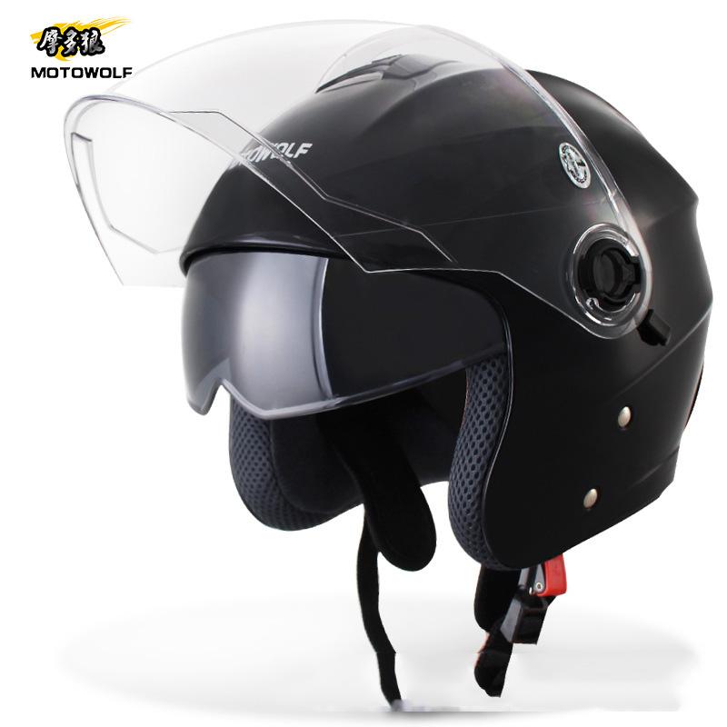 Motowolf Helm Sepeda Motor Half Face Black Jakartanotebook Com