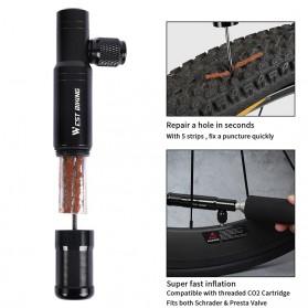 West Biking 2 in 1 Peralatan Tambal Ban Sepeda Motor Tubeless + Adaptor Pompa Angin Tire Pump - YP0711083 - Black - 8
