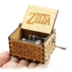 Kotak Musik Antik Wooden Music Box - Zelda Engraving - Wooden - 1