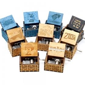 Kotak Musik Antik Wooden Music Box - Star Wars Engraving - Wooden - 2