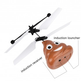 Flight Mainan Flying Ball Induction Launcher Model Poop - WDS-RCT025 - Brown - 4