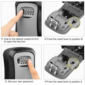 MOOL Kotak Brankas Safety Box Dinding Wall Mounted 4 Digit Password - ML4 - Black - 3