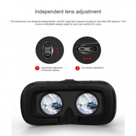 Shinecon 6th Generation 3D VR Box Virtual Reality Glasses for 4.7-6 Inch Smartphone - SC-G04 - Black - 3