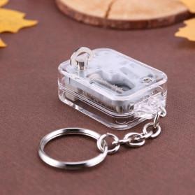 VKTECH Gantungan Kunci Kotak Musik DIY 18 Tones Mechanical Metal Music Box Keychain - MBB18 - Silver - 3