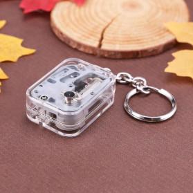 VKTECH Gantungan Kunci Kotak Musik DIY 18 Tones Mechanical Metal Music Box Keychain - MBB18 - Silver - 4