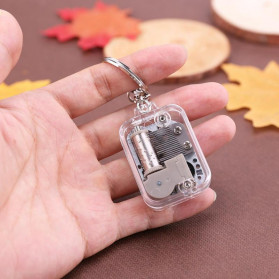 VKTECH Gantungan Kunci Kotak Musik DIY 18 Tones Mechanical Metal Music Box Keychain - MBB18 - Silver - 5