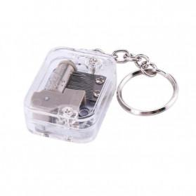 VKTECH Gantungan Kunci Kotak Musik DIY 18 Tones Mechanical Metal Music Box Keychain - MBB18 - Silver - 6