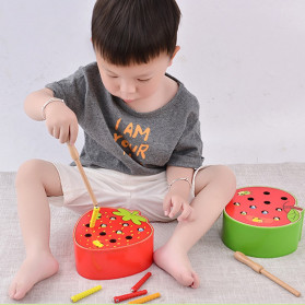 Diikamiiok Mainan Mancing Ulat Puzzle 3D Anak Model Strawberry - TOY05 - Red