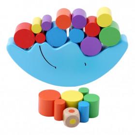 Diikamiiok Mainan Menumpuk Balok Puzzle 3D Anak Model Bulan - DN-004 - Blue