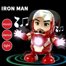 MEET MOOD Mainan Robot Dance Marvel Avenger Iron Man Dancing LED Light Music - M160 - Red