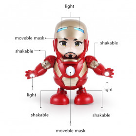 MEET MOOD Mainan Robot Dance Marvel Avenger Iron Man Dancing LED Light Music - M160 - Red - 7