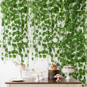 PULCHRITUDE Dekorasi Hiasan Cafe Wedding Ranting Daun Menjalar Artificial Red Ivy Leaf 2M - BB480 - Red - 2