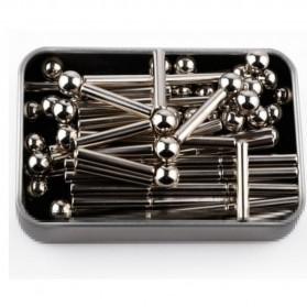 ZY Mainan Magnetik Steel Metalic Stick and Bucky Balls - J75 - Silver - 6