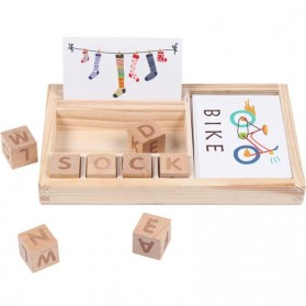 JOKEJOLLY Mainan Puzzle Spelling Words Montessori Educational Game - MT573 - Wooden