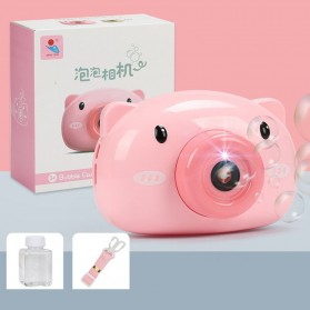 Mainan Gelembung Sabun Automatic Bubble Gun Model Pig Kamera - Pink