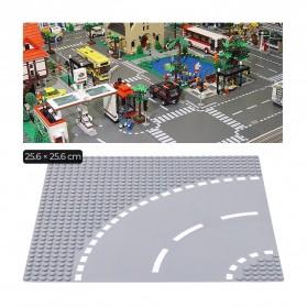 KACUU Base Plate LEGO Building Blocks 25.6 x 25.6 cm Bend Road - KA-EN-213 - Gray