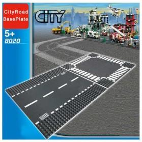 KACUU Base Plate LEGO Building Blocks 25.6 x 25.6 cm Bend Road - KA-EN-213 - Gray - 2