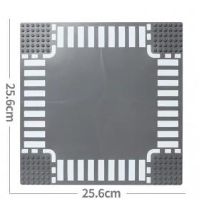 KACUU Base Plate LEGO Building Blocks 25.6 x 25.6 cm Cross Road - KA-EN-213 - Gray