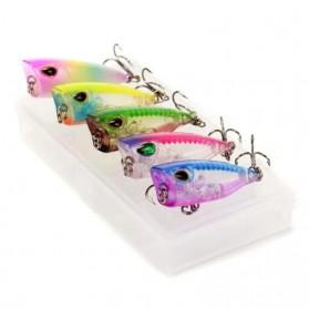OUTKIT Umpan Pancing Popper Lures Top Water Carp Floating Bait 4 cm 3.5 grams 1PCS - L-076 - Mix Color