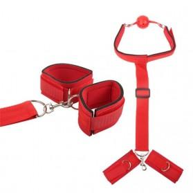 Yunman Tali Pengikat Kaki Tangan Reverse Handcuff Wrist Neck Mouth Gag BDSM Bondage - 00632 - Black - 4