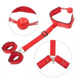 Yunman Tali Pengikat Kaki Tangan Reverse Handcuff Wrist Neck Mouth Gag BDSM Bondage - 00632 - Black - 5