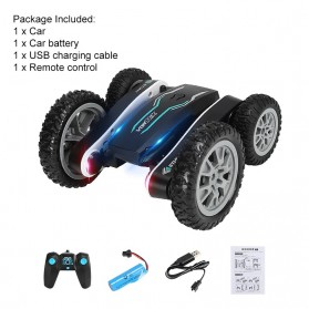 Vortex Remote Control Stunt Car Colorful LED Light 360 Degree Flip 4WD 2.4G - 898A - Black - 8
