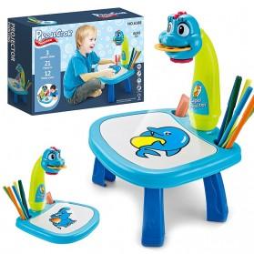 ProseCtor Mainan Edukasi Menggambar LED Projection Painting Board Desk Arts - 6188 - Blue