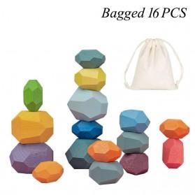 Brozebra Mainan Edukasi Anak Batu Susun Jenga Building Block Balance Toy 16PCS - BZ1030 - Multi-Color