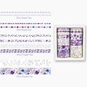 Moonovol Stiker Kertas Buku Vintage Washi Tape Decorative Tape For Sticker Scrapbooking 10 Roll - WT54 - Purple