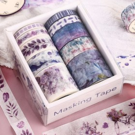 Moonovol Stiker Kertas Buku Vintage Washi Tape Decorative Tape For Sticker Scrapbooking 10 Roll - WT54 - Purple - 2