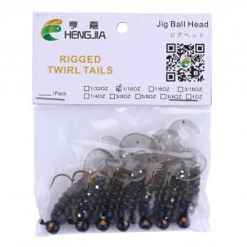 Hengjia Umpan Pancing Sea Bass Bait Jig Head Twirl Tails Worm 1.75G 7PCS - Black
