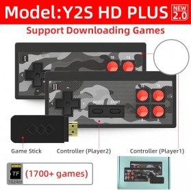 DATA FROG Y2S HD Plus Wireless TV Video Game Console Retro Controller Stick with Built-in 1700 Games - Black