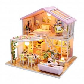 Sylvanian Cute Room Miniatur Rumah Boneka 3D DIY 1:24 with Cover - M2001 - Pink