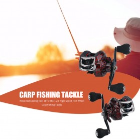 SNAKESKIN Reel Pancing Baitcasting Fishing Reel 18+1 Ball Bearing 7.2:1 Left Hand - EL1000 - Black - 6