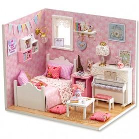 Mainan Dalam Ruangan - CUTEBEE Miniatur Rumah Boneka DIY Doll House Wooden Furniture - H015 - Pink