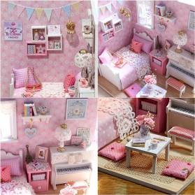 CUTEBEE Miniatur Rumah Boneka DIY Doll House Wooden Furniture - H015 - Pink - 2