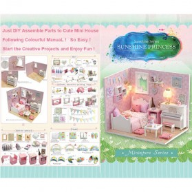 CUTEBEE Miniatur Rumah Boneka DIY Doll House Wooden Furniture - H015 - Pink - 4