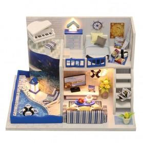 HONGDA Miniatur Rumah Boneka DIY Doll House Wooden Furniture - M040 - Blue
