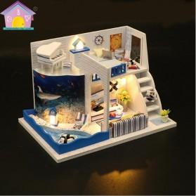 HONGDA Miniatur Rumah Boneka DIY Doll House Wooden Furniture - M040 - Blue - 2