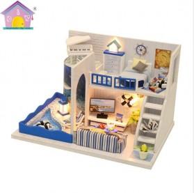 HONGDA Miniatur Rumah Boneka DIY Doll House Wooden Furniture - M040 - Blue - 3