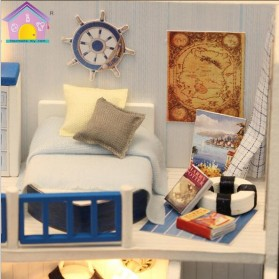 HONGDA Miniatur Rumah Boneka DIY Doll House Wooden Furniture - M040 - Blue - 5