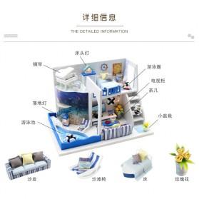 HONGDA Miniatur Rumah Boneka DIY Doll House Wooden Furniture - M040 - Blue - 6