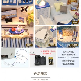 HONGDA Miniatur Rumah Boneka DIY Doll House Wooden Furniture - M040 - Blue - 7