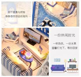 HONGDA Miniatur Rumah Boneka DIY Doll House Wooden Furniture - M040 - Blue - 11