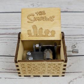 Kotak Musik Antik Wooden Music Box The Simpsons Engraving - Wooden