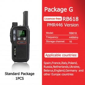 Retevis Mini Walkie Talkie 446MHz 0.5W PMR446 Version - RB618 - Black