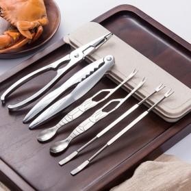 GLANYOMI Set Penghancur Cangkang Kepiting Crab Crackers Stainless Steel 6PCS - KT311 - Silver