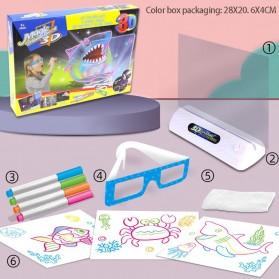 Yigebebe Mainan Menggambar 3D Magic Drawing Board LED Versi Ocean - Yig-236 - White
