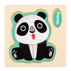 VOKMASCOT Mainan Puzzle Jigsaw Animal 3D Anak Kayu - 712Y - Black