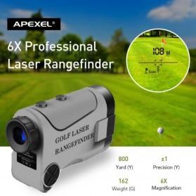 APEXEL Teropong Golf Jarak Laser Rangefinder 1200M 6X - APL-LRM1200GY - Gray